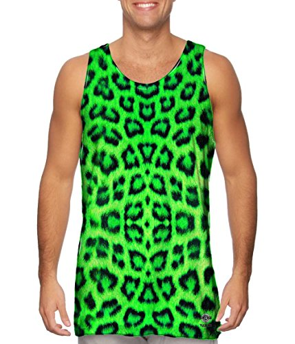 Neon Leopard Green (Yizzam-- Neon Green Leopard Animal Skin -TShirt- Mens Tank Top -X-Large)