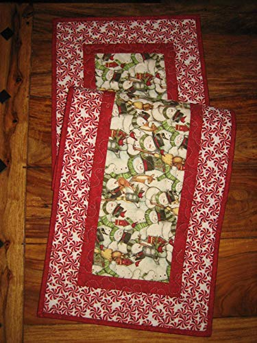 (Snowman and Peppermint Candy Christmas Table Runner, 14x48