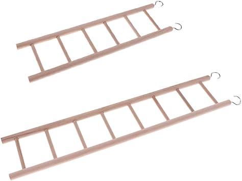 Sharplace 2 Piezas Escalera Hámster Pájaro Jaula Loro de Madera Juguete Rata Puente: Amazon.es: Juguetes y juegos