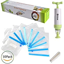 MOYEAH Vacuum Sealer with Hand Pump, Vacuum System Keep Food Saver Longer-Storage Bags Sealed,Reusable,Practical, Easy to Use 1 Hand Pump, 10 BPA Free Food Vacuum Sealed Bags