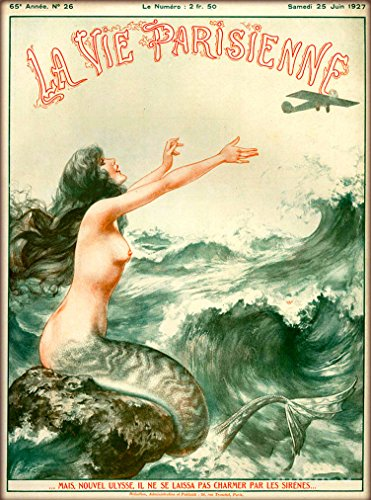 Nouveau Vintage Poster - 1927 La Vie Parisienne The Mermaid and the Airplane French Nouveau from a Magazine France Travel Advertisement Collectible Wall Decor Picture Art Poster Print. Poster measures 10 x 13.5 inches