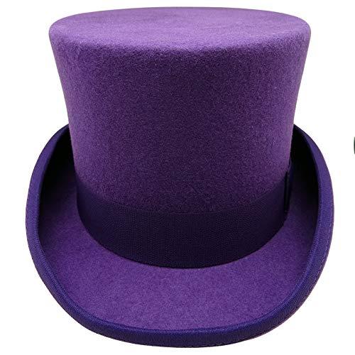 HATsanity Unisex Vintage Wool Felt Formal Tuxedo Topper Hat Purple
