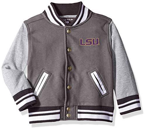 NCAA LSU Tigers Children Unisex Toddler Letterman Jacket, 5/6 Toddler, Pewter/Oxford
