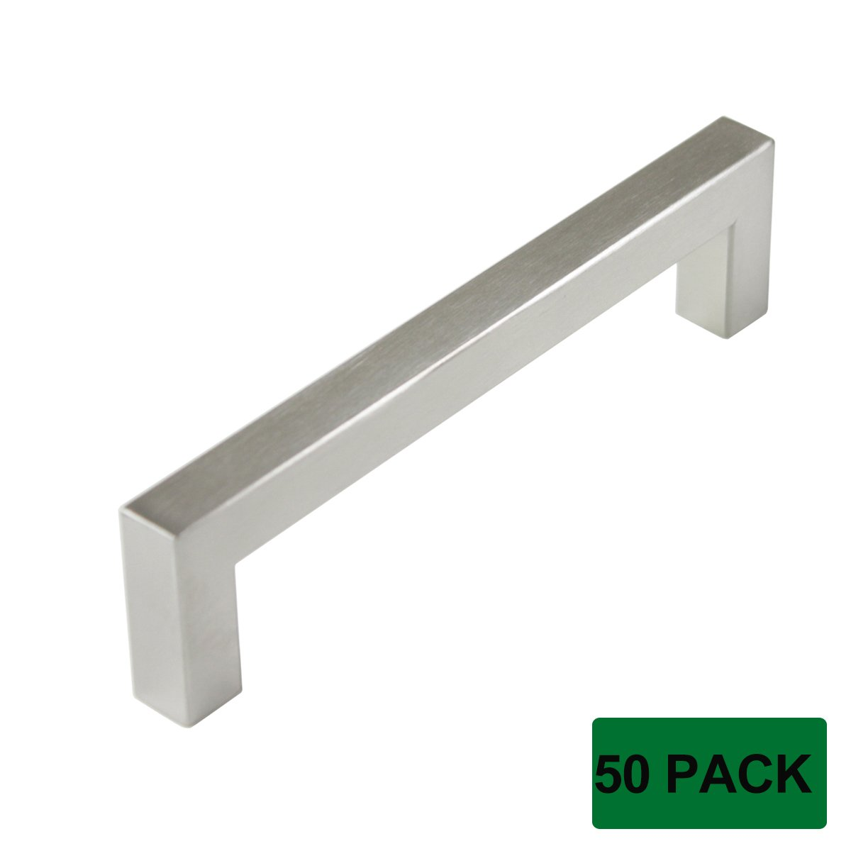 Probrico Stainless Steel Modern Kitchen Cupboard Handles 5 Inch Holes Centers Cabinet Drawer Pulls Brushed Nickel 5.5 Inch Total Length 50 Pack