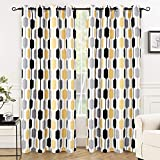 DriftAway Riley Geo Room Darkening/Blackout Thermal Insulated Grommet Lined Window Curtains, Mid Century Geometric Pattern, 2 Layer, Set of Two Panels, Each 52″x84″ (Yellow/Gray/Black) Review