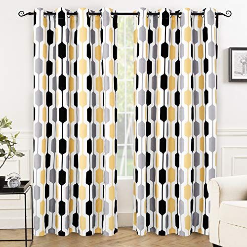 DriftAway Riley Geo Room Darkening/Blackout Thermal Insulated Grommet Lined Window Curtains, Mid Century Geometric Pattern, 2 Layer, Set of Two Panels, Each 52