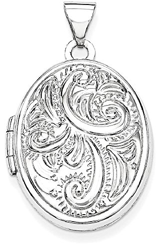 ICE CARATS 14k White Gold Domed Oval Photo Pendant Charm Locket Chain Necklace That Holds Pictures by ICE CARATS