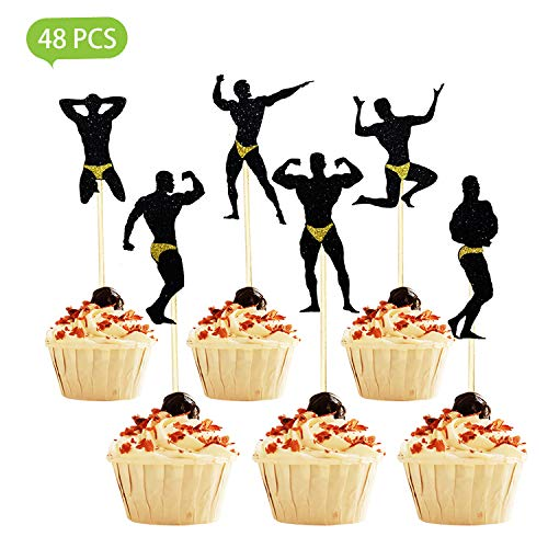 48Pcs Bachelorette Party Cupcake Toppers, Hen Party Cupcake Topper, Bachelorette Cake Toppers for Bachelor Party Supplies (Bachelor Cake Topper)