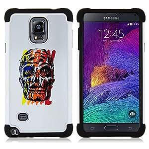 BullDog Case - FOR/Samsung Galaxy Note 4 SM-N910 N910 / - / SKULL GREY RED POSTER COLORFUL YELLOW /- H??brido Heavy Duty caja del tel??fono protector din??mico - silicona suave