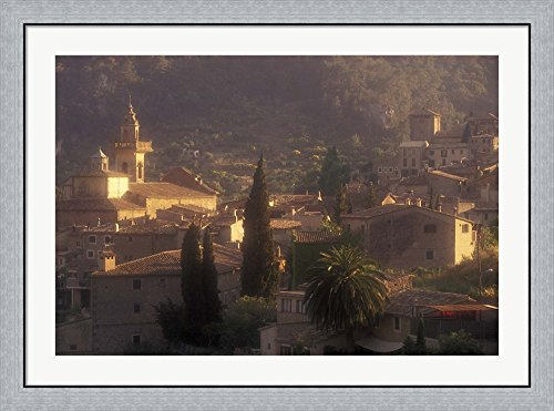 View of Town and Cartuja de Valledemossa, Mallorca, Balearics, Spain by Walter Bibikow / Danita Delimont Framed Art Print Wall Picture, Flat Silver Frame, 43 x 32 inches by Great Art Now