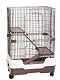Homey Pet 3 Tiers Chinchilla Hamster Rat Ferret Cage with Sleeping Platform, Pull out tray, Urine Guard and Lockable Casters, Brown, L26'x W17'x H38'