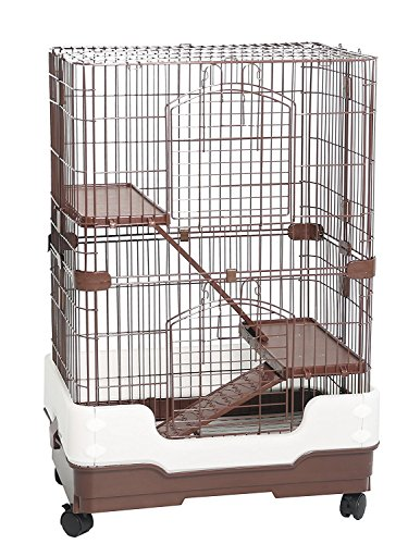 Ferret Chinchilla Rat - Homey Pet 3 Tiers Chinchilla Hamster Rat Ferret Cage with Sleeping Platform, Pull out tray, Urine Guard and Lockable Casters, Brown, L26