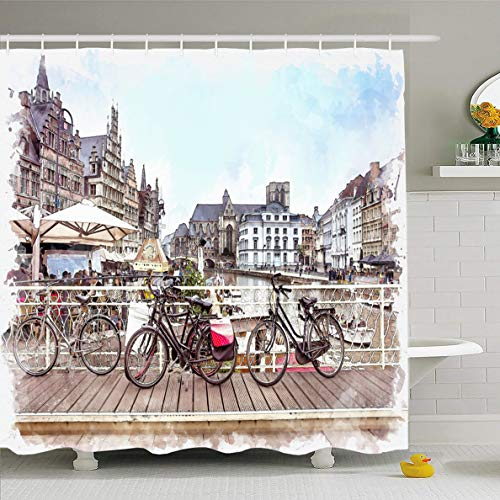 Ahawoso Shower Curtain 66x72 Inches Flemish Blue Cityscape Watercolor Gent Ghent Belgium Historical Traditionally Town City European Attraction Design Waterproof Polyester Fabric Set with Hooks]()