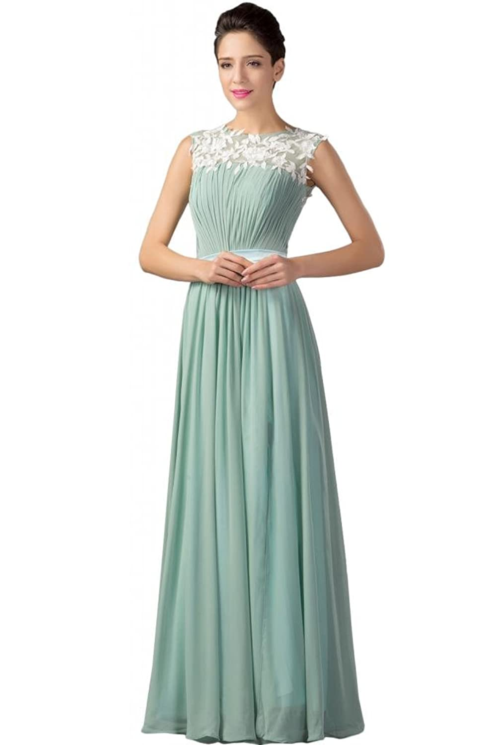 Sunvary Sleeveless Prom Evening Dresses Scoop Neckline Appliques Sash
