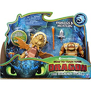Dreamworks Dragons, Fishlegs & Meatlug, Dragon with Armored Viking Figure, for Kids Aged 4 & Up