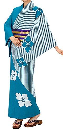 踊り衣裳 お仕立上り浴衣 大印 本絵羽ゆかた 白×青緑 レディース