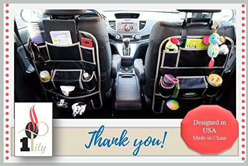 OneTily Premium Leather Car Back Seat Organizer Kick Mat Auto Seat Back Protector Eco Friendly Portable Travel Tablet Holder Nursery Hanging Baby Kids Toy Storage No Animals Harmed