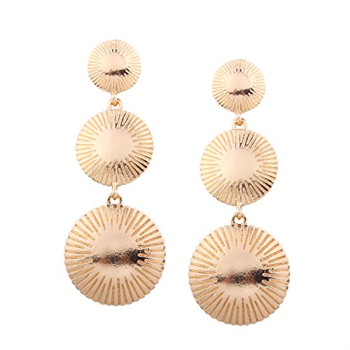 Brushed Metal Sheets Stitching Gold Colored Round Disc Shaped Drop Earring Hook Earrings