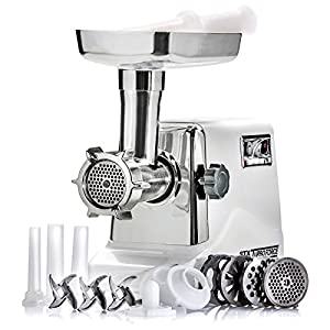STX International STX-3000-TF Turboforce Electric Meat Grinder & Sausage Stuffer - 3 Speed - Heavy Duty (1200 Watts) - Size #12-4 Grinding Plates, 3 Stainless Blades, 3 Sausage Tubes & Kubbe