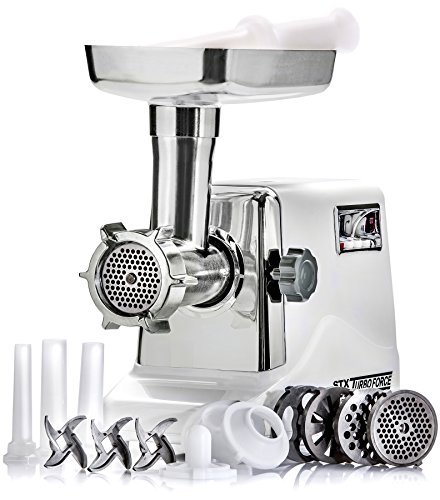 STX International STX-3000-TF Turboforce Electric Meat Grinder & Sausage Stuffer - 3 Speed - Heavy Duty (1200 Watts) - Size #12 - 4 Grinding Plates, 3 Stainless Blades, 3 Sausage Tubes & Kubbe