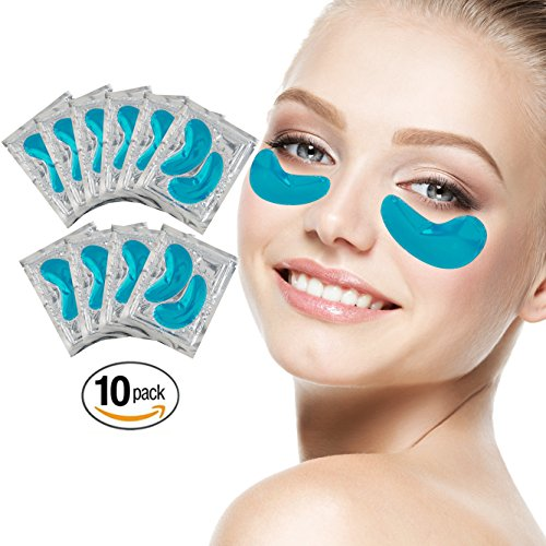 Blue Gel Mask Eye (Set Kit of 10 Pairs Blue Marine Algae Seeweed Collagen Gel Crystal Masks Patches Eyes Pads for Intense Moisturizing Hydrating, Wrinkles Crows Feet Removal, Whitening Melanin Pigment Reduction)