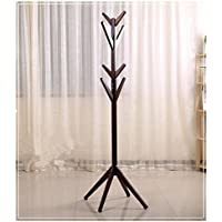 Solid Wood Coat Rack Hall Tree Hat Purse Display Stand, 4 Levels 8 Hooks (Dark Brown)