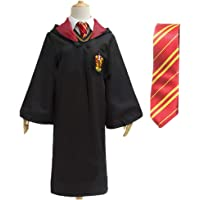 Unisex Mantello Uniforme Scolastica dell'uniforme di Halloween Magic Long Robe con la Cravatta