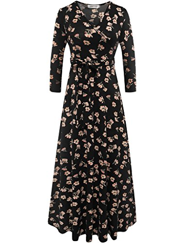 Aphratti Women's 3/4 Sleeve Vintage Wrap Long Maxi Dress with Belt Small Black