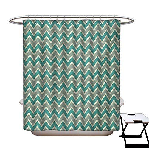 (BlountDecor Chevron Shower Curtains Sets Bathroom Zigzag Stripes Pattern Angular Design Retro Design Inspirations Satin Fabric Sets Bathroom W69 x L70 Pale Sage Green Teal and)