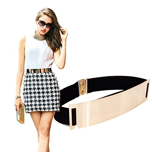 Damen Guertel S&E Taillengürtel Breit Metall Gürtel Goldener und Schwarz Guertel Kleid Ornament