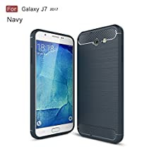 Galaxy J7 2017 Case,Dekaro Rugged Armor Hybrid Herringbone with Flexible Inner Protection Flexible TPU Carbon Fiber Design for Samsung Galaxy J7 2017 Navy Blue case