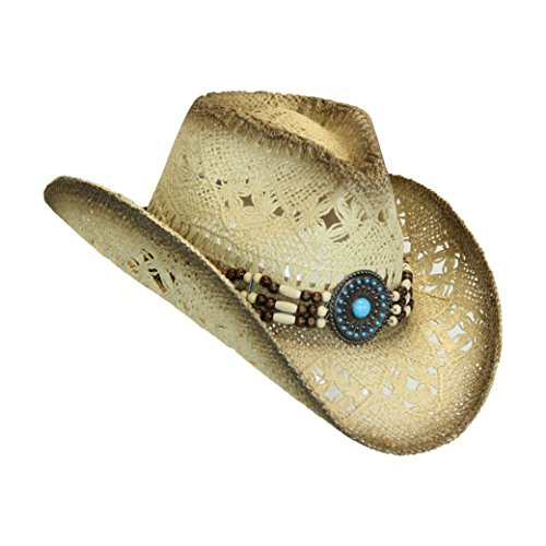 Western Toyo Straw Cowboy Hat, Shapeable w/ Stylish Beaded Concho Band