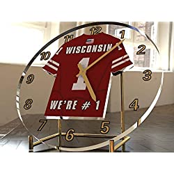 FanPlastic College Football USA - We're Number ONE American Football Desktop/Table Clocks - Support Your Team !!! (Wisconsin Badgers)