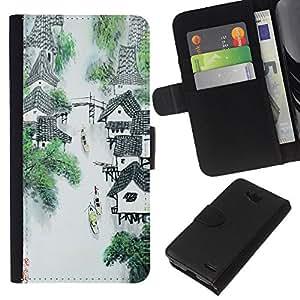 KLONGSHOP // Tirón de la caja Cartera de cuero con ranuras para tarjetas - China Río Cascada Mountain Village Art - LG OPTIMUS L90 //