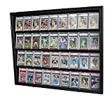 Lockable 36 Graded Sports Card Display Case, for Football, baseball, basketball, Hockey cards (CC02-BL)