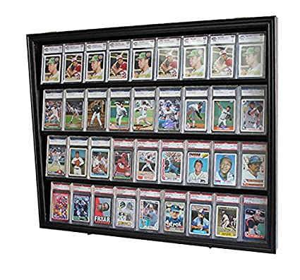 Lockable 36 Graded Sports Card Display Case For Football Baseball Basketball Hockey Cards Black Cc02 Bl