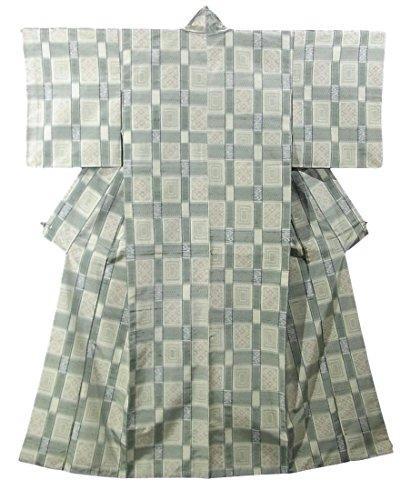 発火する迷彩クラッシュリサイクル 着物 紬 格子に花菱模様 正絹 袷 裄61cm 身丈156cm