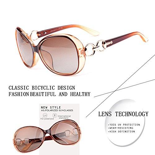 VeBrellen Luxury Transparent Women's Polarized Sunglasses Retro Eyewear Oversized Square Frame Goggles Eyeglasses (Transport Frame With Dark Brown Lens, 60) by VeBrellen (Image #4)
