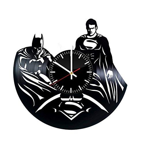 Superman and Batman Superheroes Vinyl Record Wall Clock - Get unique bedroom or nursery wall decor - Gift ideas for friends, children  DC Comics Unique Modern Art