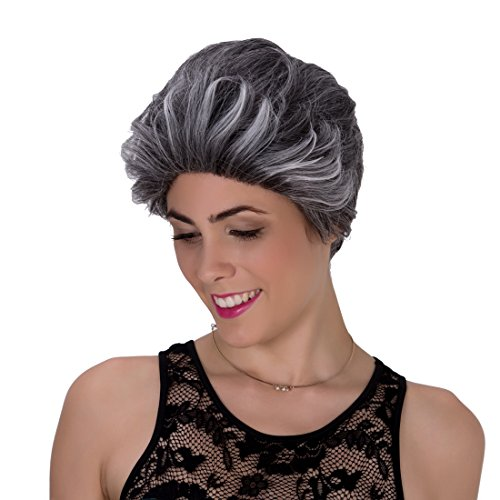 Generic Shaggy Spiky Synthetic Bump Wig for Women, Grey