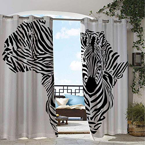 (Linhomedecor Gazebo Waterproof Curtains Safari Illustration of African Map Zebras Camouflage Stripes Patterns Cultural Print Black White pergola Grommet Bathroom Curtain 96 by 72 inch)