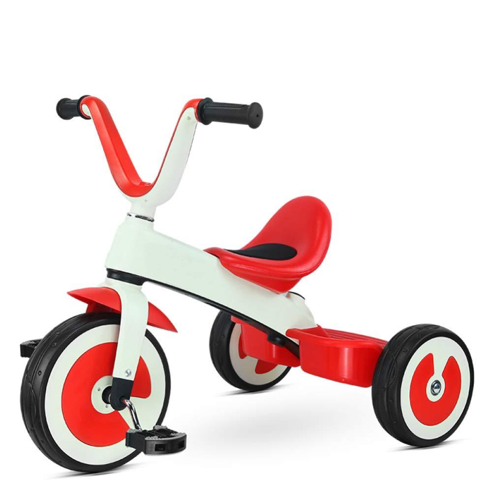 TH - Triciclo para Niños Triciclo Baby, La Aleación del Magnesio Marco Sin Fisuras, Asiento Suave Y De Alta Densidad Rueda EVA, 2-6years,Red