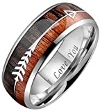 Crownal 8mm Tungsten Koa Wood Zebra Wood Arrows Inlay Vikings Hunting Ring Band Engraved''I Love You'' Size 5 To 17 (8mm,7)