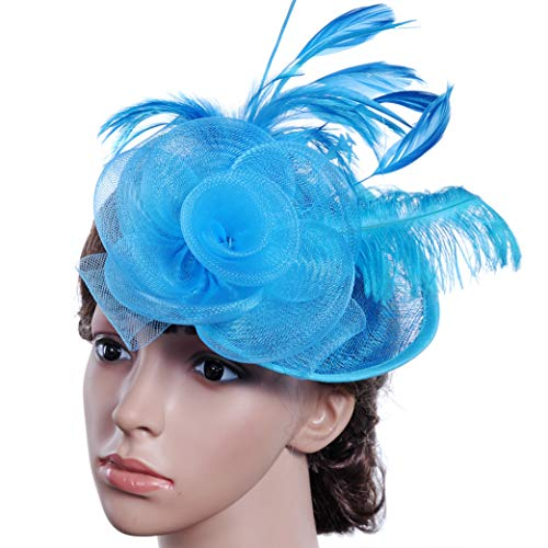 Women Feather Fascinator Elegant Headband Clip Wedding Bridal Ladies Tea Party Flower Church Hat Blue]()