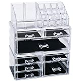 3 Piece Cosmetic Storage Organizer Drawers Makeup Jewelry Display Case Box Large Home Bathroom