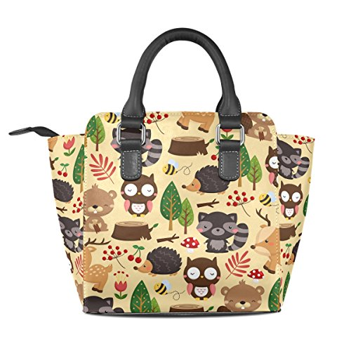 Coosun Ladies Woodland Light Background Borsa A Tracolla In Pelle Con Tracolla In Pelle Pu