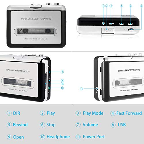 Portable Cassette Tape Converter Captures MP3 Audio Music Cassette Tape to MP3 CD Converter via USB Compatible with Laptop and PC Guardyar Cassette Player