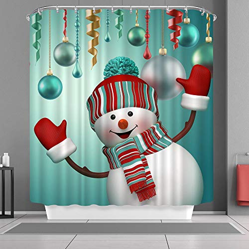 Nice Snowman - DENGYUE Happy Snowman Shower Curtain, Flushed Chubby Face Snowman Wearing Red Gloves New Hat Scarf Nice to Meet You 3D Print Solid Color Bath Curtain