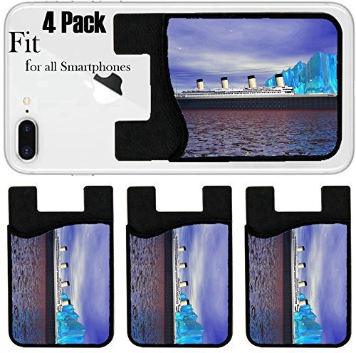Liili Phone Card holder sleeve/wallet for iPhone Samsung Android and all smartphones with removable microfiber screen cleaner Silicone card Caddy(4 Pack) titanic and iceberg IMAGE ID 13194518 by Liili