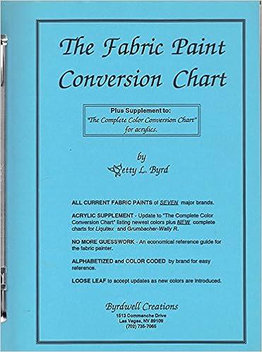 The Fabric Paint Conversion Chart Betty L Byrd Amazon Books